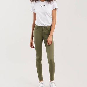 Levi's 710 Super Skinny Olive Green Soft Touch 26